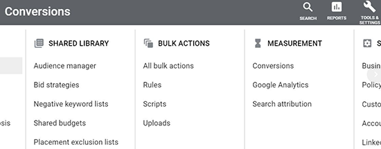 screen grab of Google Ads tools & settings