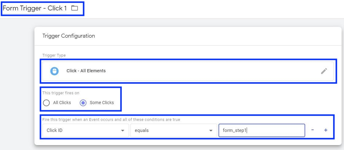 screenshot of setting up a click - all elements trigger in google tag manager