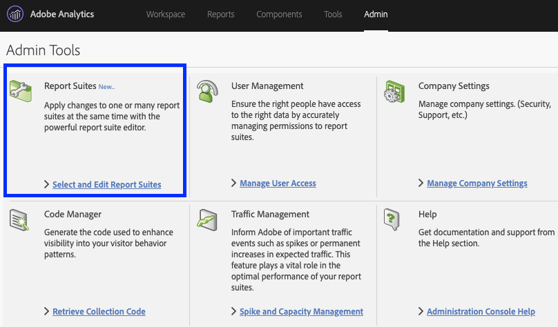 screen grab of Adobe Analytics, Admin Tools, Report Suite Manager