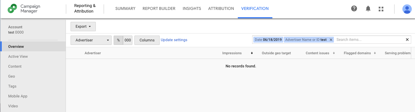 screen shot of Google's Campaign Manager Verification Tab